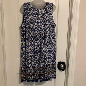Casual pleated dress, cute pattern.
